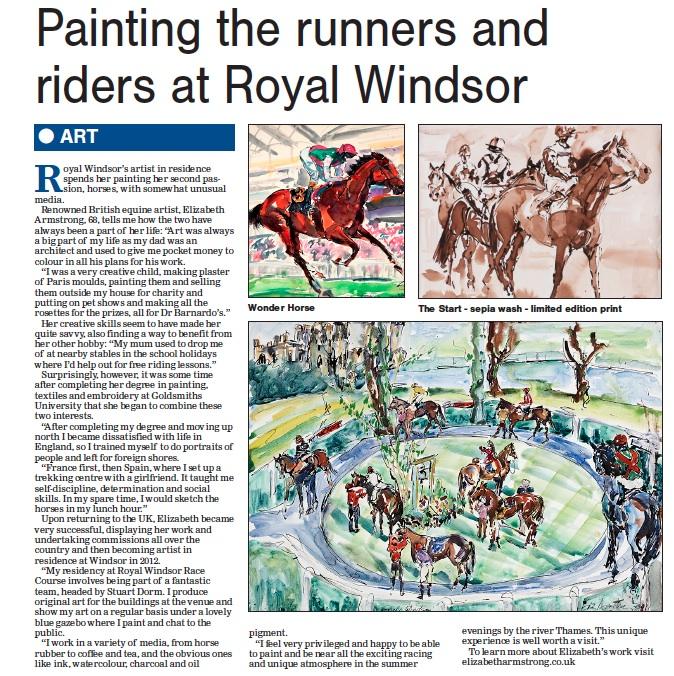 Bucks Free Press article - Elizabeth Armstrong Equine Artist