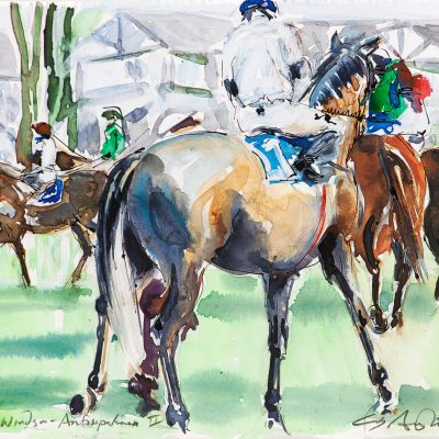 "Anticipation, Royal Windsor racecourse, Ink water colour, 12""x16"", Sold - 2013"
