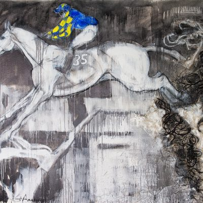 Auroras Encore, Ryan Mania, John Smiths Grand National winner 2013, Oil pigment horse hair on canvas, 8