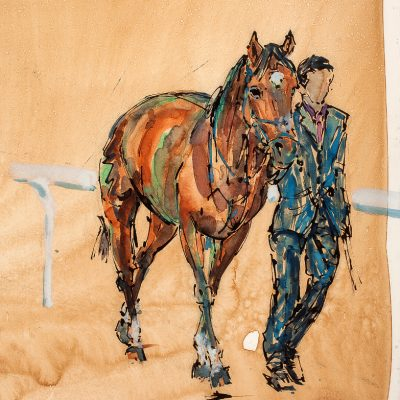 "Frankel, Pre Parade Ring, 11""x16"", Ink water colour, Sold - 2013"