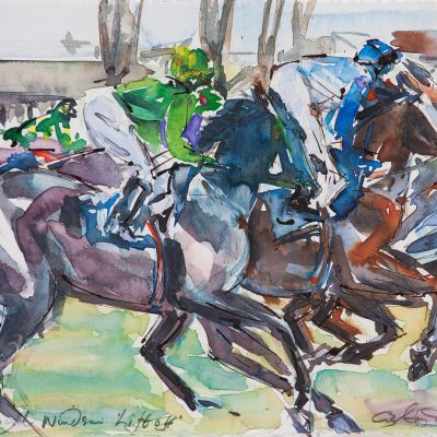 "Lift Off, Ink water colour, Royal Windsor Racecourse, 12""x16"", Sold - 2013"
