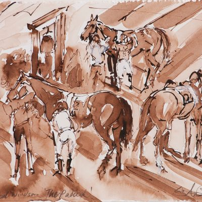 "Royal Windsor, The Paddock, Royal Windsor racecourse, Ink water colour, 12""x16"", Sold - 2013"