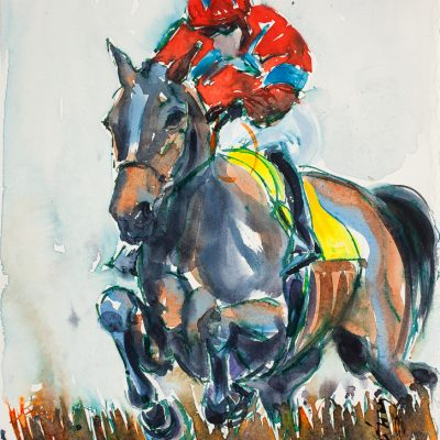 "Sprinter Sacre, Ink water colour, 12""x16"", Sold - 2013"
