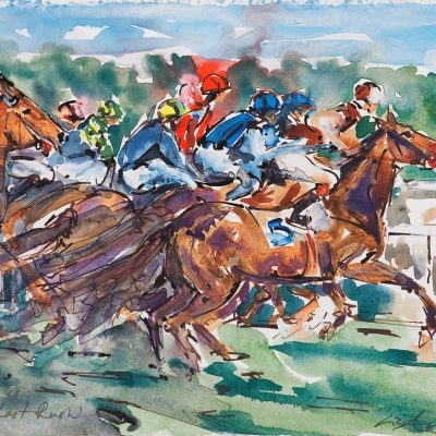 "The Last Rush, Royal Windsor race course, Ink water colour, 12""x16"", Sold - 2013"
