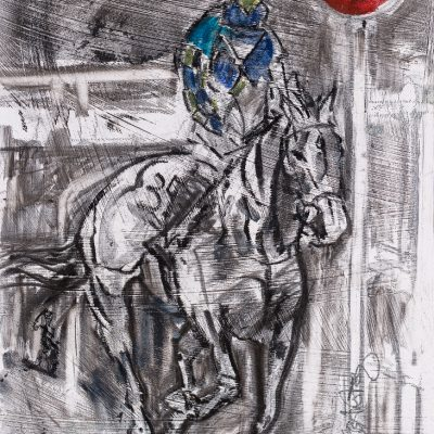 "The Winning Post, Auroras Encore, Grand National, Mixed media, 13""x20"", Sold - 2013"