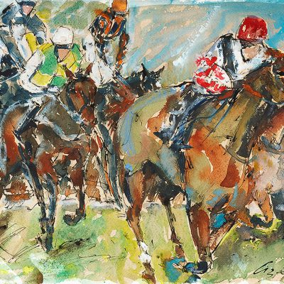 "Big Bucks, Ruby Walsh, Ink water colour, 18""x24"", Sold - 2012"