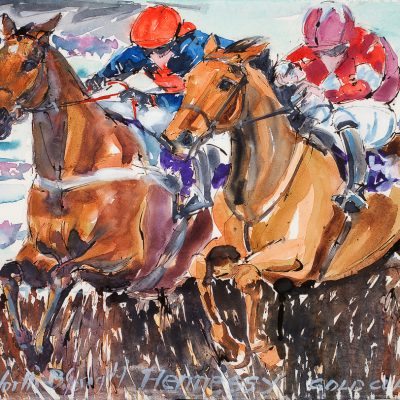 "Bob's Worth, Hennessy Gold Cup 2012, Ink water colour, 18""x24"", Sold to Newbury racecourse Hennessy Bar - 2012"