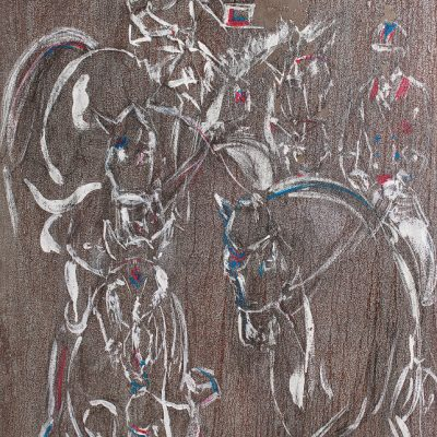 "Equum Olympiad, Silver, Paint on metal, 40""x28"", Sold - 2012"