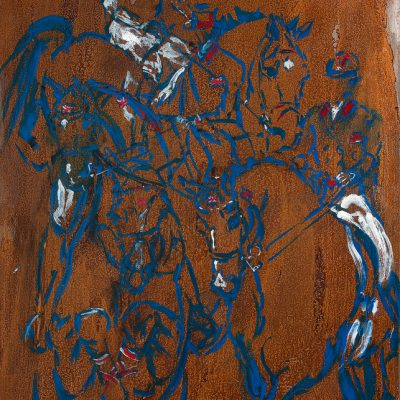 "Equum Olympiad, Gold, Paint on metal, 40""x28"", For Sale - 2012"