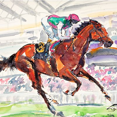 "Frankel Royal Ascot 2012, Ink water colour, 18""x24"", Sold - 2012"