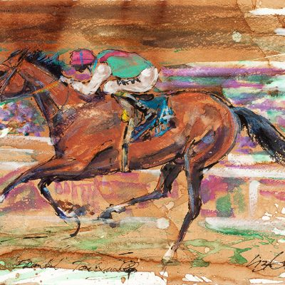 "Frankel, Tom Queally, Ink water colour, 18""x24"", Sold - 2012"