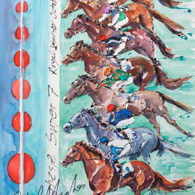 "Hughes's Super 7, Ink water colour, 20""x30"", Sold to Royal Windsor Racecourse - 2012"