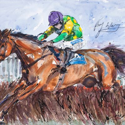 "Kauto Star, Ruby Walsh, Ink water colour, 18""x24"", Sold - 2012"