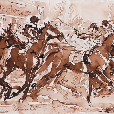 "Royal Windsor Action 1, Sepia wash, 11""x15"", Sold to Royal Windsor Racecourse - 2012"