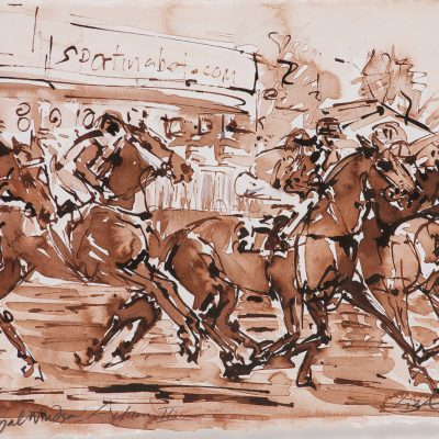 "Royal Windsor Action 11, Sepia wash, 11""x15"", Sold to Royal Windsor Racecourse - 2012"