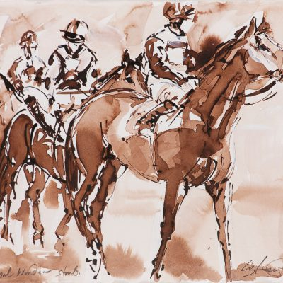 "Royal Windsor Start, Sepia wash, 11""x15"", Sold to Royal Windsor Racecourse - 2012"
