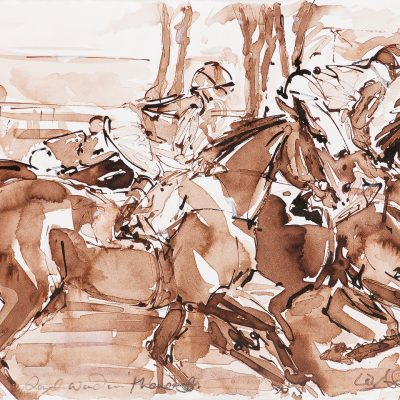 "Royal Windsor The Off, Sepia wash, 11""x15"", Sold to Royal Windsor Racecourse - 2012"