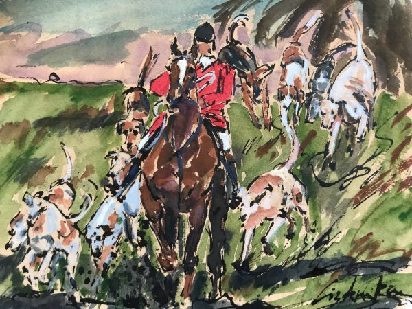 Hunting fun water colour print - Elizabeth Armstrong