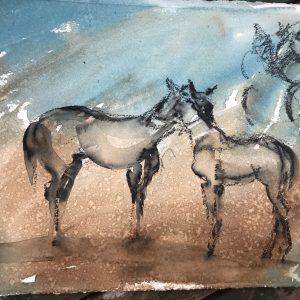 Say Hello - Elizabeth Armstrong Equine Art